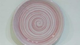 Dekoratif Desenli Emaye Tabak 17 cm Pembe