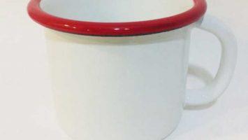 Emaye Büyük Kupa Beyaz Ağız Kırmızı