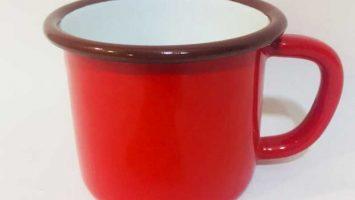 Emaye Büyük Kupa Kırmızı Beyaz