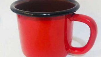 Emaye Büyük Kupa Kırmızı Siyah