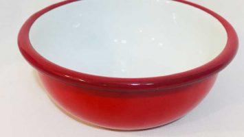 Emaye Renkli Kase 12 cm Kırmızı