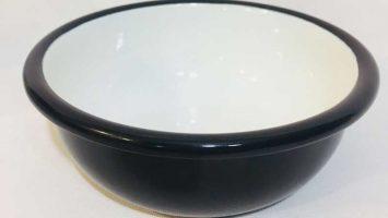 Emaye Renkli Kase 12 cm Siyah
