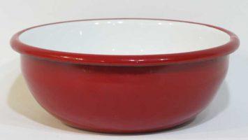 Emaye Renkli Kase 16 cm Kırmızı