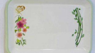 Latin Çiçeği Emaye Tepsi 26 x 18 cm