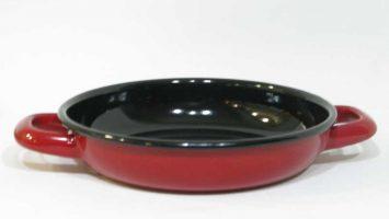 Renkli Emaye Sahan 18 cm Kırmızı Siyah