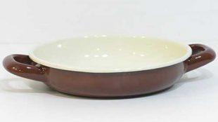 Renkli Emaye Sahan 18 cm Kahverengi