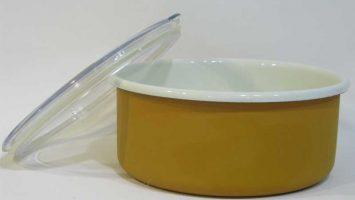 Emaye Bisküvi Kutusu Oksit Sarı