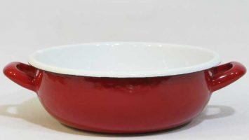 Emaye Kulplu Salata Kasesi Kırmızı