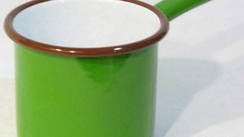 Emaye Metal Saplı Sütlük Çimen Yeşili