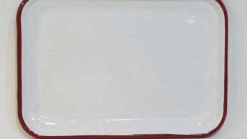 Emaye Sığ Servis Tepsisi 26 cm Kırmızı